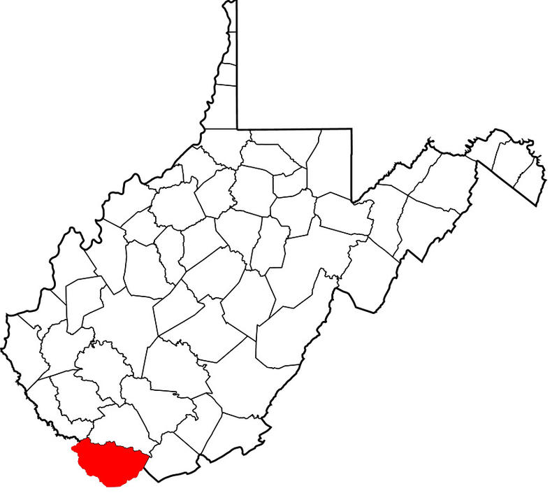 Map of West Virginia with McDowell County highligted