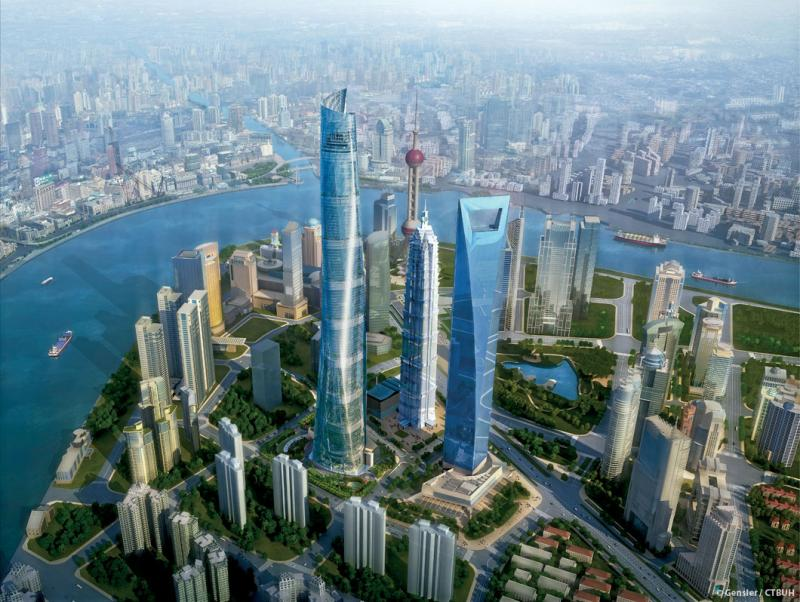 "Shanghai Tower Aerial rendering. Super Skyscrapers ""The Vertical City"""