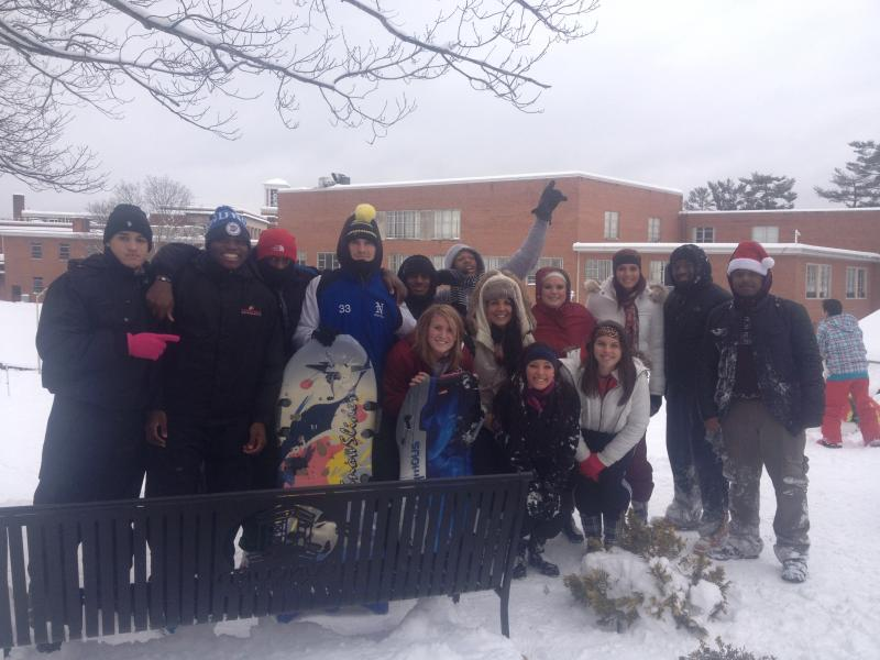 Students gather at Concord's campus for sleigh riding.