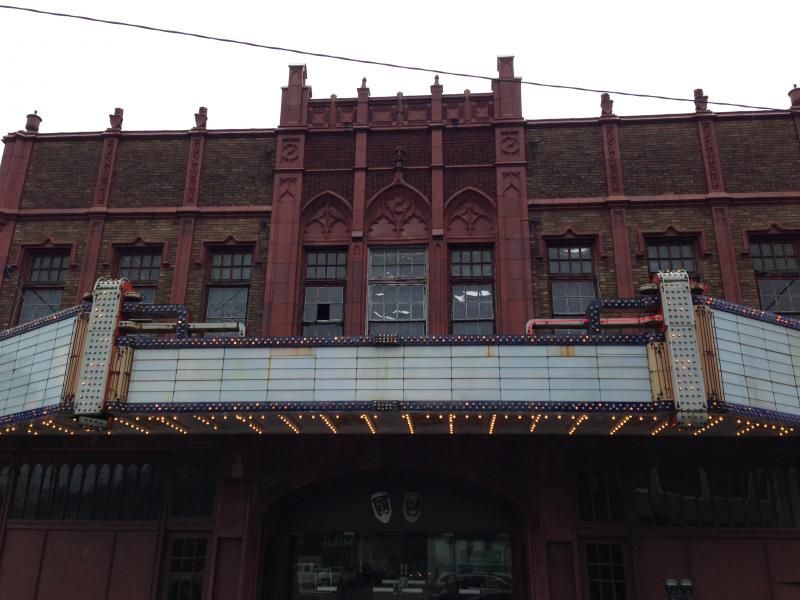 The front facade of the Rose Garden Theater in Clarksburg.
