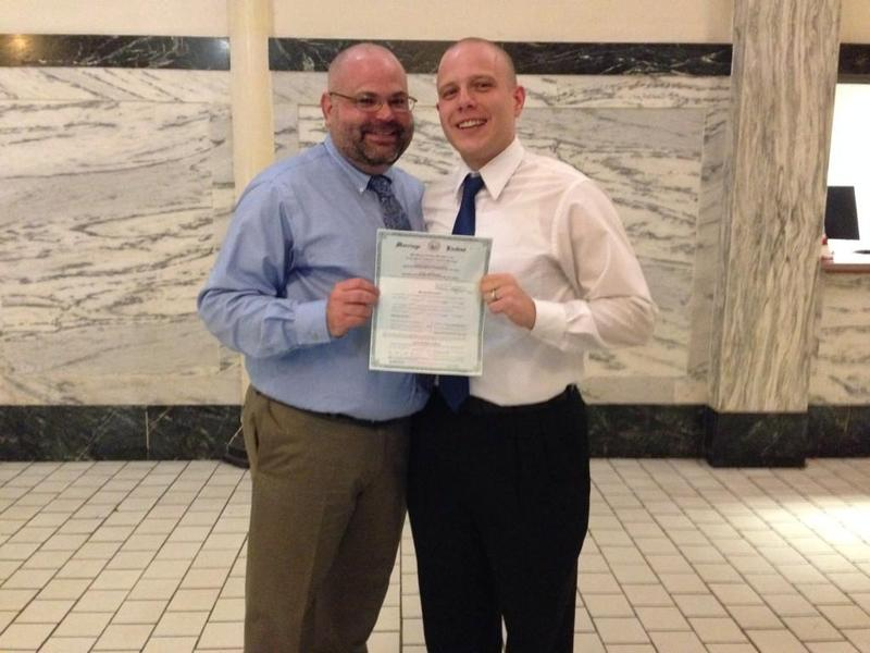 Chris Bostic and David Epp were the fist gay couple to get married in Kanawha County.