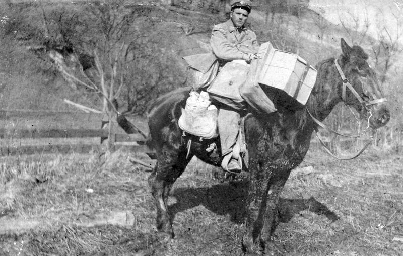 Rural mail delivery was made on four-sure feet.