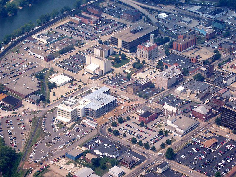 An aerial view of downtown Parkersburg.