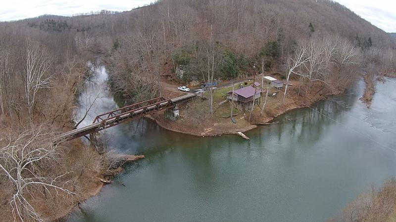 Near Frametown, several miles below the Sutton Dam. Drone shot.