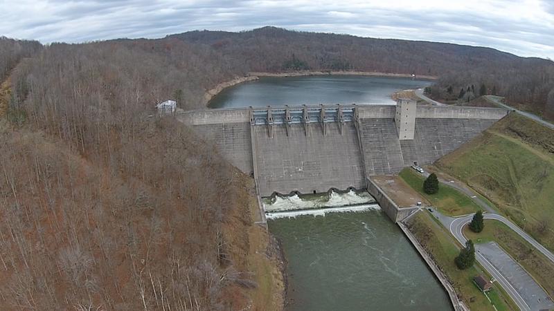 Sutton Dam. Drone shot.
