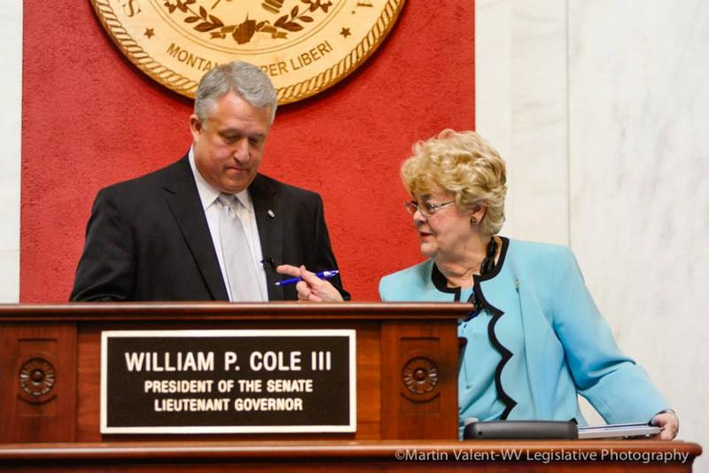 Senate President Bill Cole with Sen. Donna Boley, the chair of the Confirmations Committee.