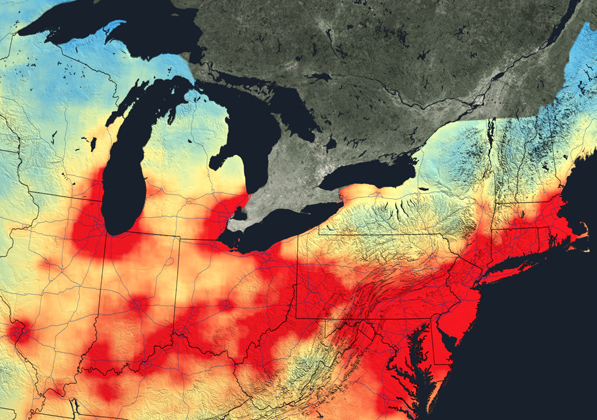 This image depicts nitrogen dioxide levels (shown in red) across the northeastern U.S. in 2005