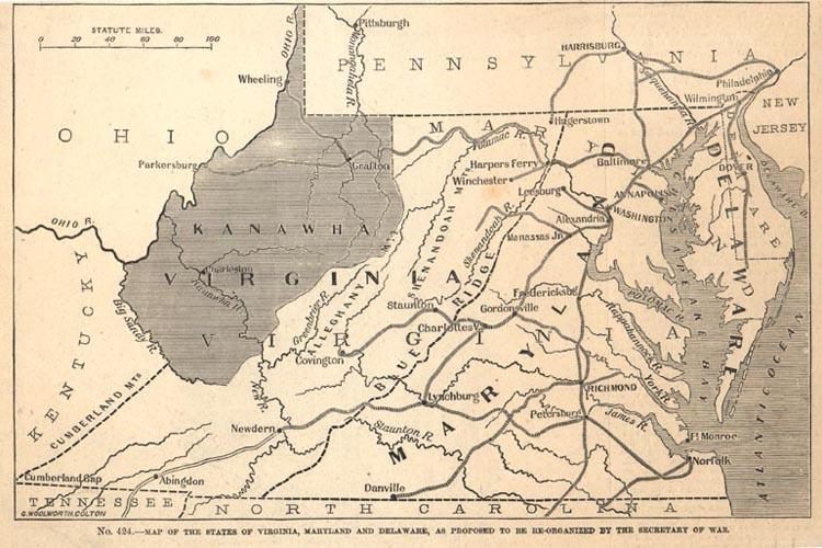 Map Showing the Proposed State of Kanawha, from Frank Leslie's Pictorial History of the American Civil War, 1862.