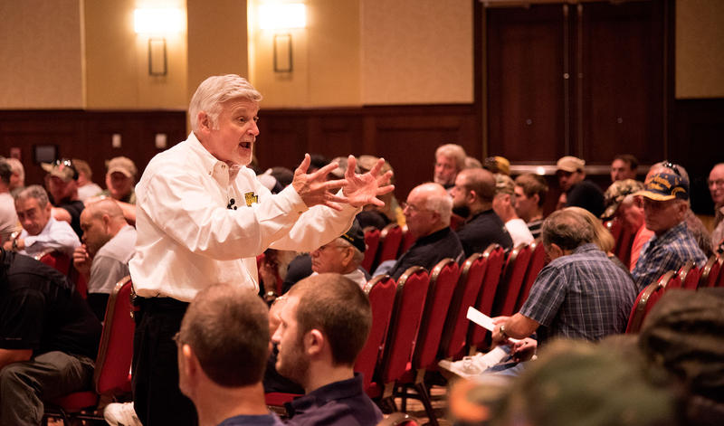 UMWA President Cecil Roberts speaks to a crowd of union members on Wednesday, June 3, at the Morgantown Event Center.