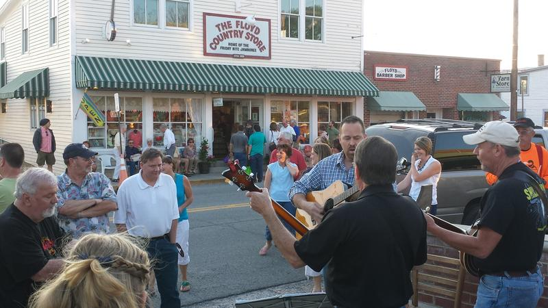 Musicians gather for informal jams outside the Floyd Country Store