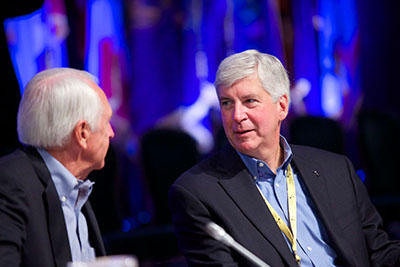 Kentucky Gov. Steve Beshear (left) and Michigan Gov. Rick Snyder (right) during a meeting of the NGA Health and Human Services Committee focused on opioid abuse across the country.
