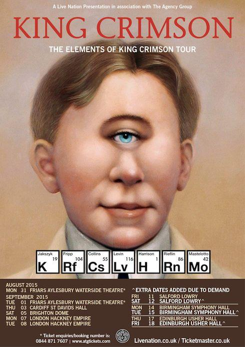 King Crimson's 2015 UK tour schedule. More dates below.