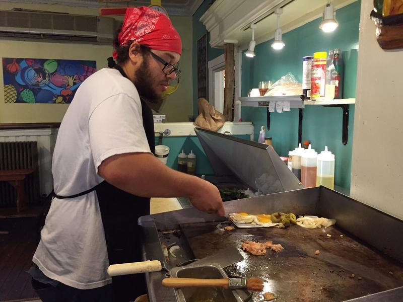 Mike Davis, regular morning cook.