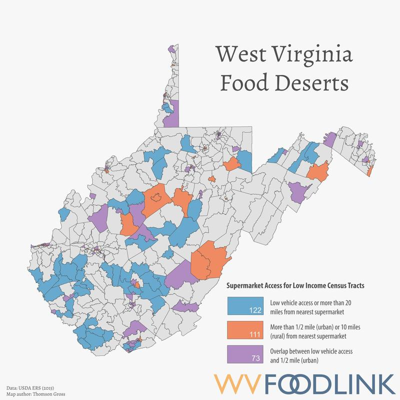 Bradley Wilson and his team are posting information, and a lot of maps like this food desert map of West Virginia they made for Inside Appalachia.