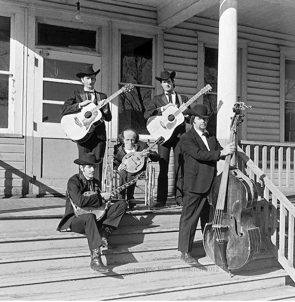 The Black Mountain Bluegrass Boys, taken in Cass, W.Va. Front Row, L-R: Richard Hefner, Uncle Dude Irvine, Dwight Diller, Back Row, L-R: Bill Hefner, Harley Carpenter
