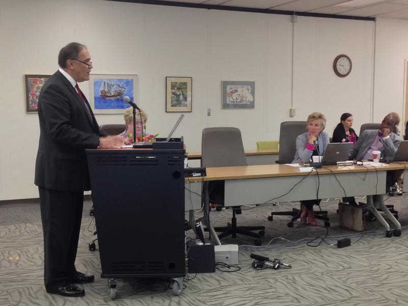Monongalia County Superintendent Frank Devono at the state Board of Education.