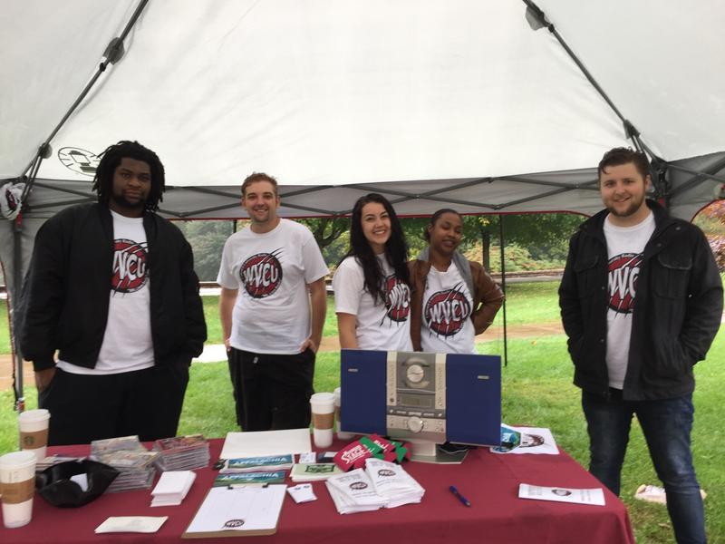 Concord University's WVCU students celebrate the announcement by passing out stickers, prizes and brochures about the station.