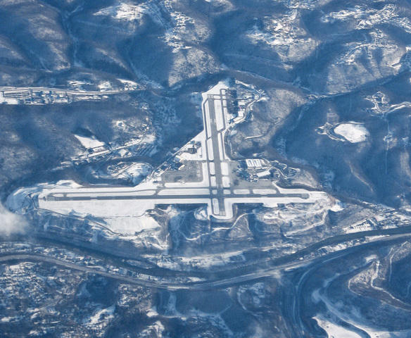 Aerial view of Yeager Airport