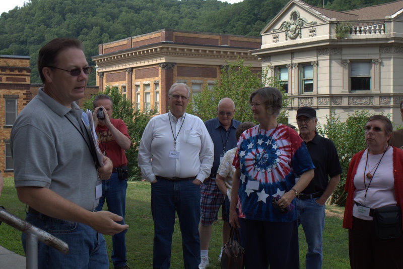 Doug Estepp (left) discussing the assassination of Sid Hatfield and Ed Chambers in front of the McDowell County Courthouse in Welch.