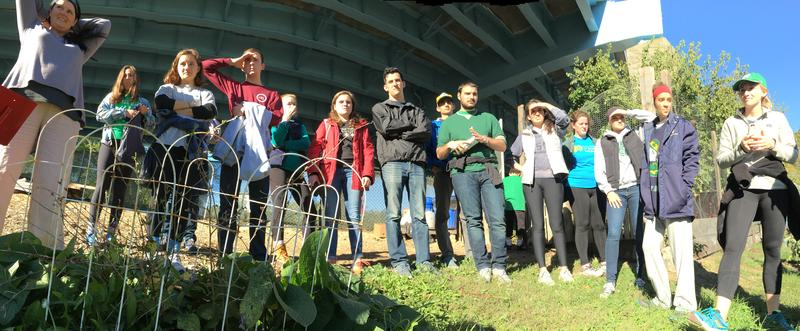 Kate Marshall (L) introduces students from the University of Notre Dame to Grow Ohio Valley's urban farm on 18th street in Wheeling, West Virginia.