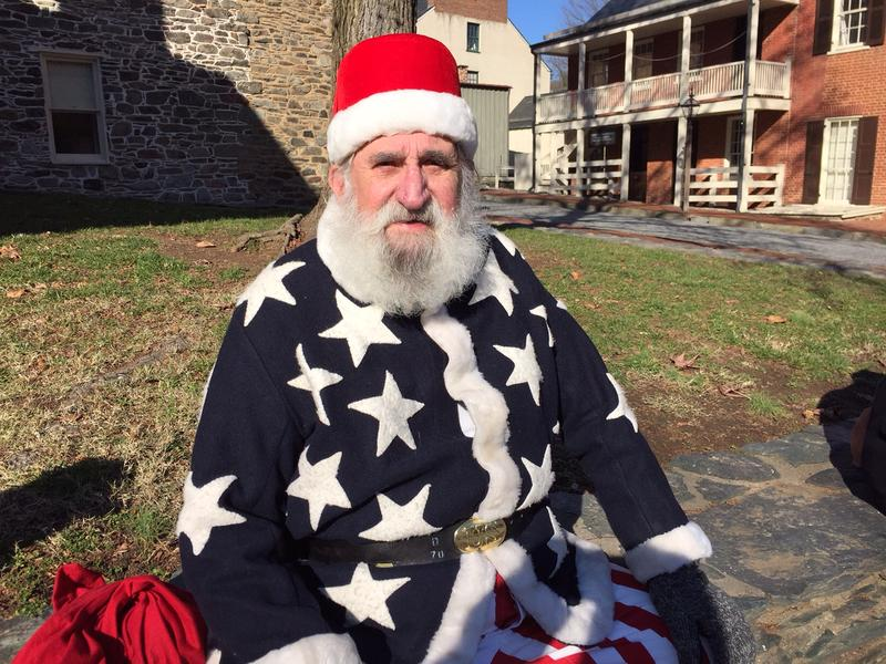 A reenactor portrays Father Christmas in 1864 at the Olde Tyme Christmas event in Harpers Ferry, West Virginia