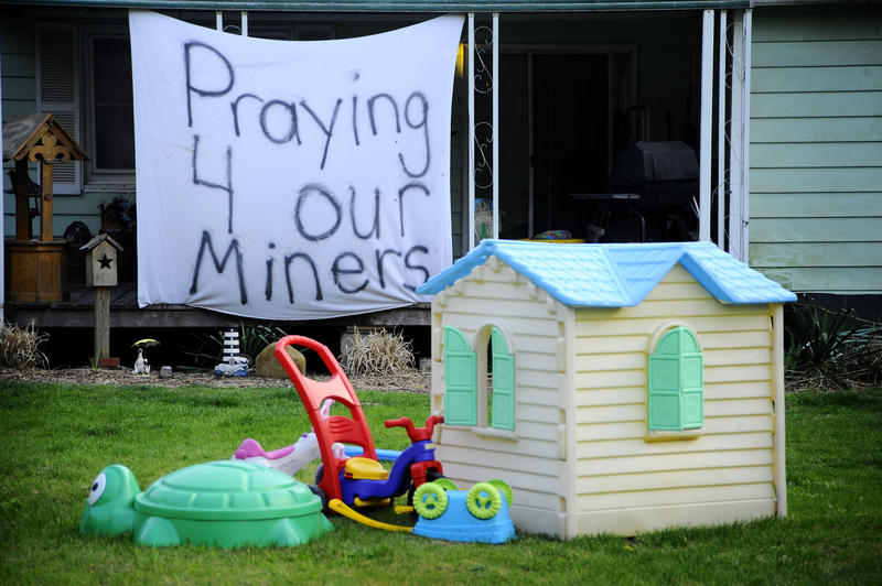 A sign hangs in a yard near Massey Energy's Upper Big Branch Coal Mine Tuesday, April 6, 2010 in Montcoal, W.Va.