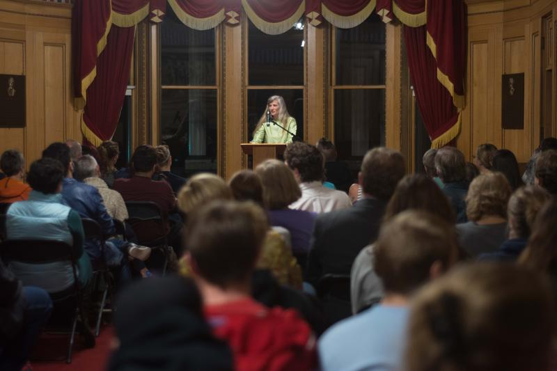 """Ann Pancake reads from her new book """"Me and My Daddy Listen to Bob Marley"""" at Davis & Elkins College."""