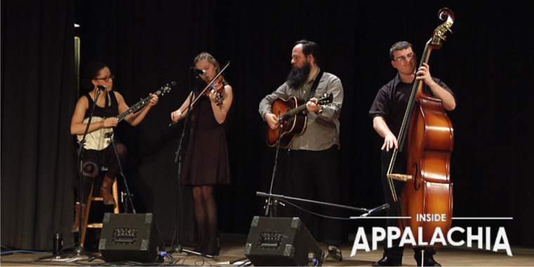 The Appalachian Ensemble is a string band and dance ensemble at Davis and Elkins College. This photo was taken during a performance at the Pocahontas County Opera House