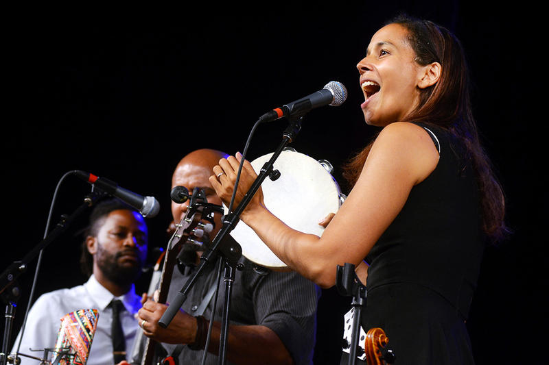 Rhiannon Giddens returned to the Mountain Stage in Elkins, WV this past August.