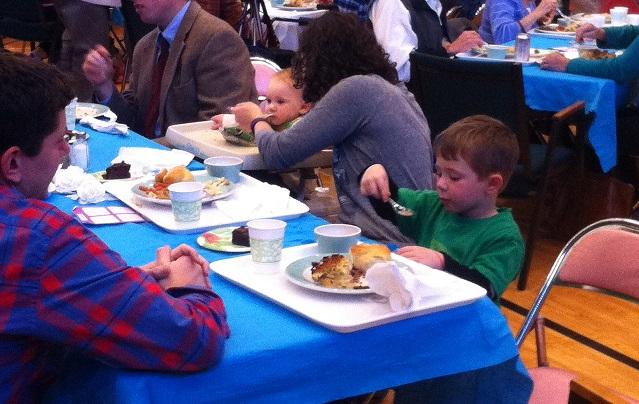 Children eating brisket and matzo ball soup at The Taste of Jewish Cuisine, at the Temple Israel in Charleston, W.Va.