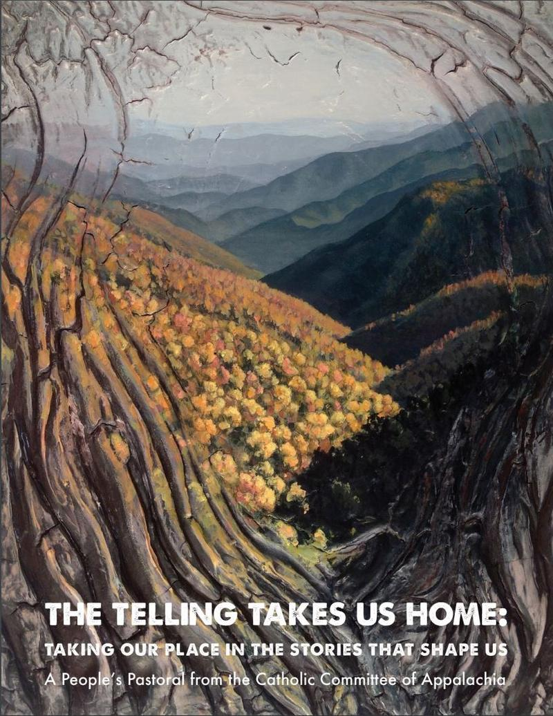 "Parkersburg native Christopher Santer's painting is the cover the the pastoral letter. It comes from a series called ""Mountains"" that explores mountaintop removal. Other paintings from the series are throughout the letter."