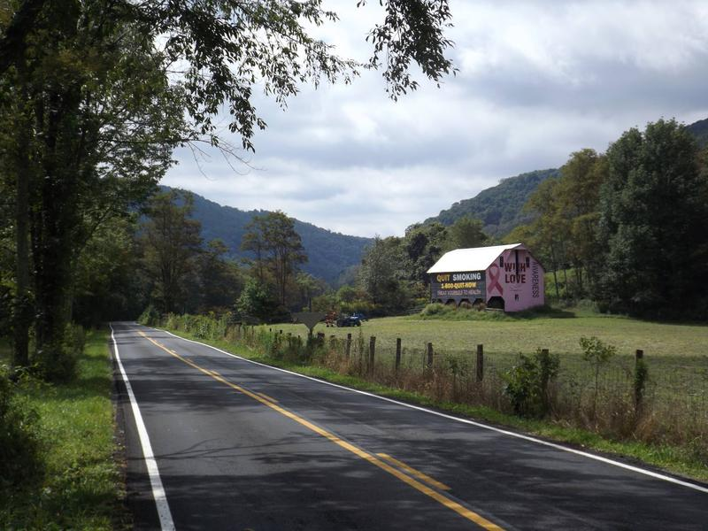 The first breast cancer awareness barn in the U.S. is also a tobacco prevention barn. It sits along a highway in Randolph County, West Virginia.