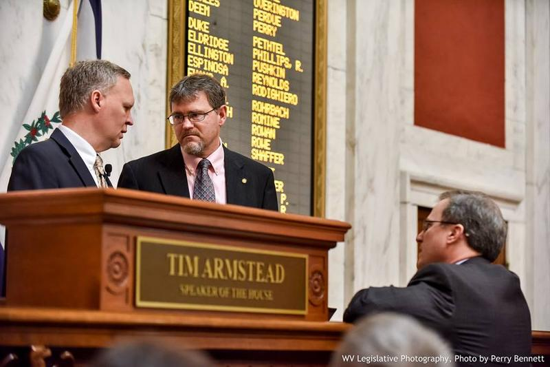 House Speaker Tim Armstead with his Majority Leader Daryl Cowles at the podium Wednesday.