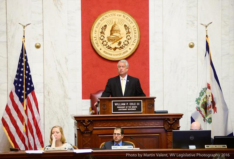 Senate President Bill Cole oversees a floor session.