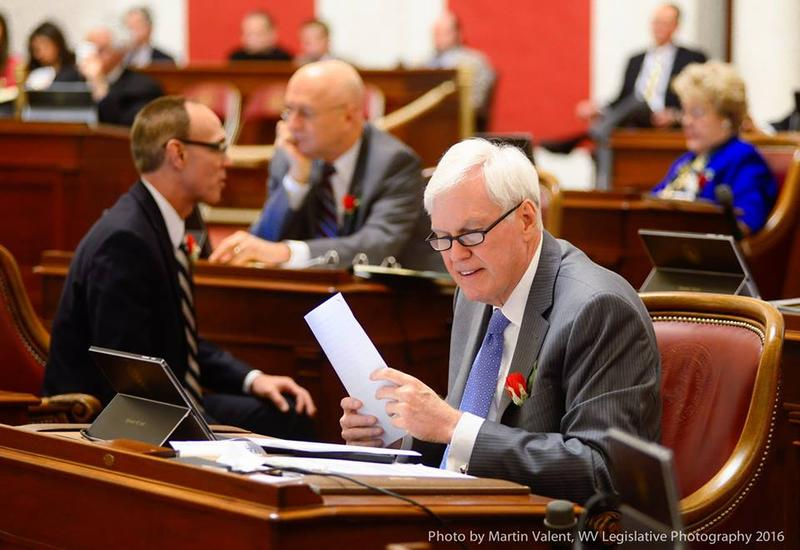 Senate Finance Chair Mike Hall on the floor of the Senate Tuesday.