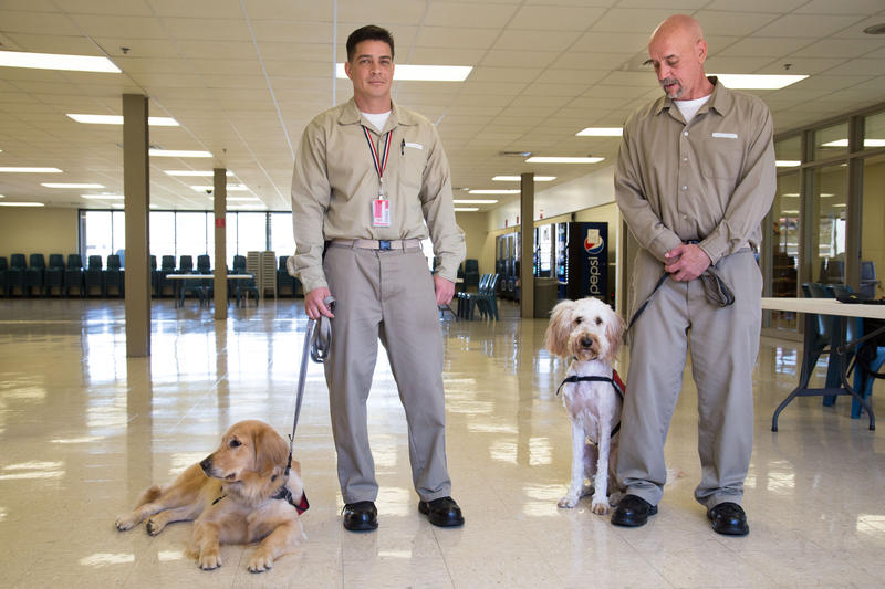 Biley and her trainer Jeff Morerro and Vivien and her trainer Michael Graboske at the minimum security FCI prison in Morgantown.