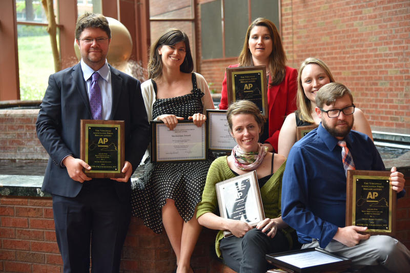 Some of the members of WVPB's news team who won AP Broadcasters Awards on Saturday, April 23, in Charlottesville, Va.
