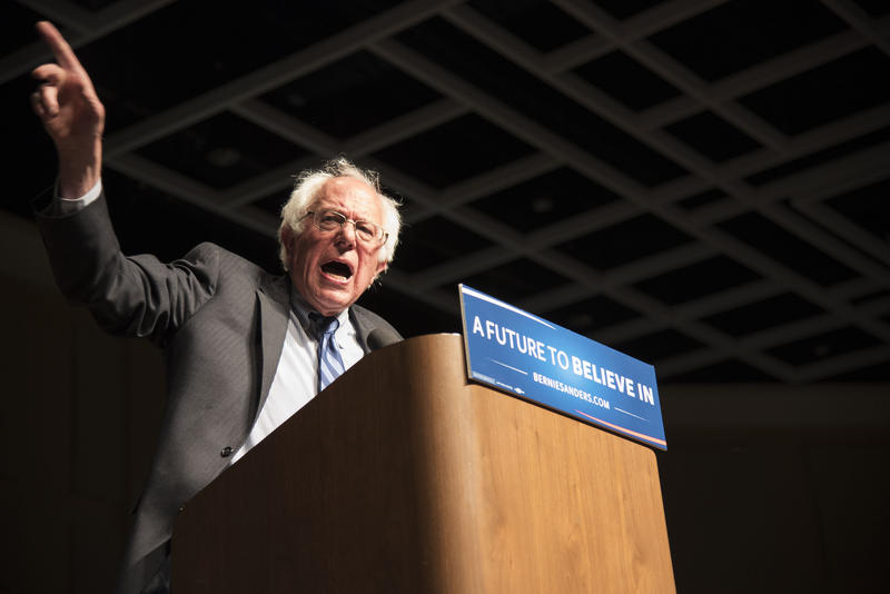 Democratic presidential candidate Sen. Bernie Sanders speaks during a campaign stop Thursday, May 5, at the Morgantown Event Center.