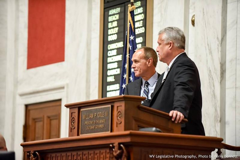 Senate Majority Leader Mitch Carmichael and Senate President Bill Cole at the podium on the Senate floor Wednesday.