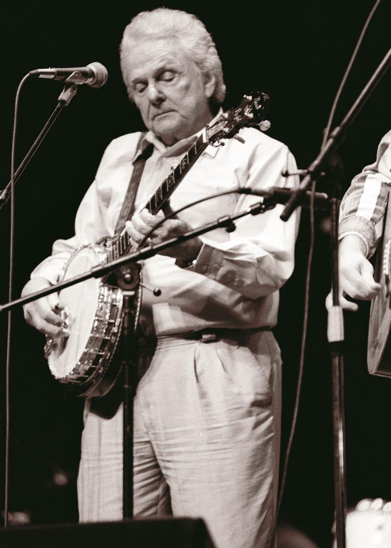Ralph Stanley, shown here in 1998, performing on Mountain Stage.