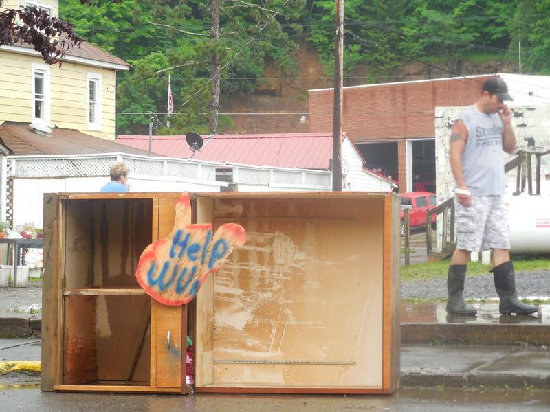 Clean up efforts along Main Street, Rainelle, West Virginia