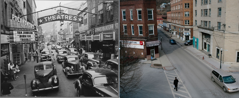 Downtown Welch in 1946 (left) and today
