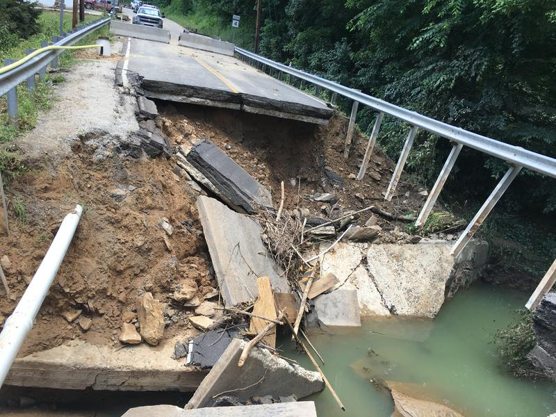 Route 4 near the Kanawha and Clay County lines was washed away during June 23 flooding.