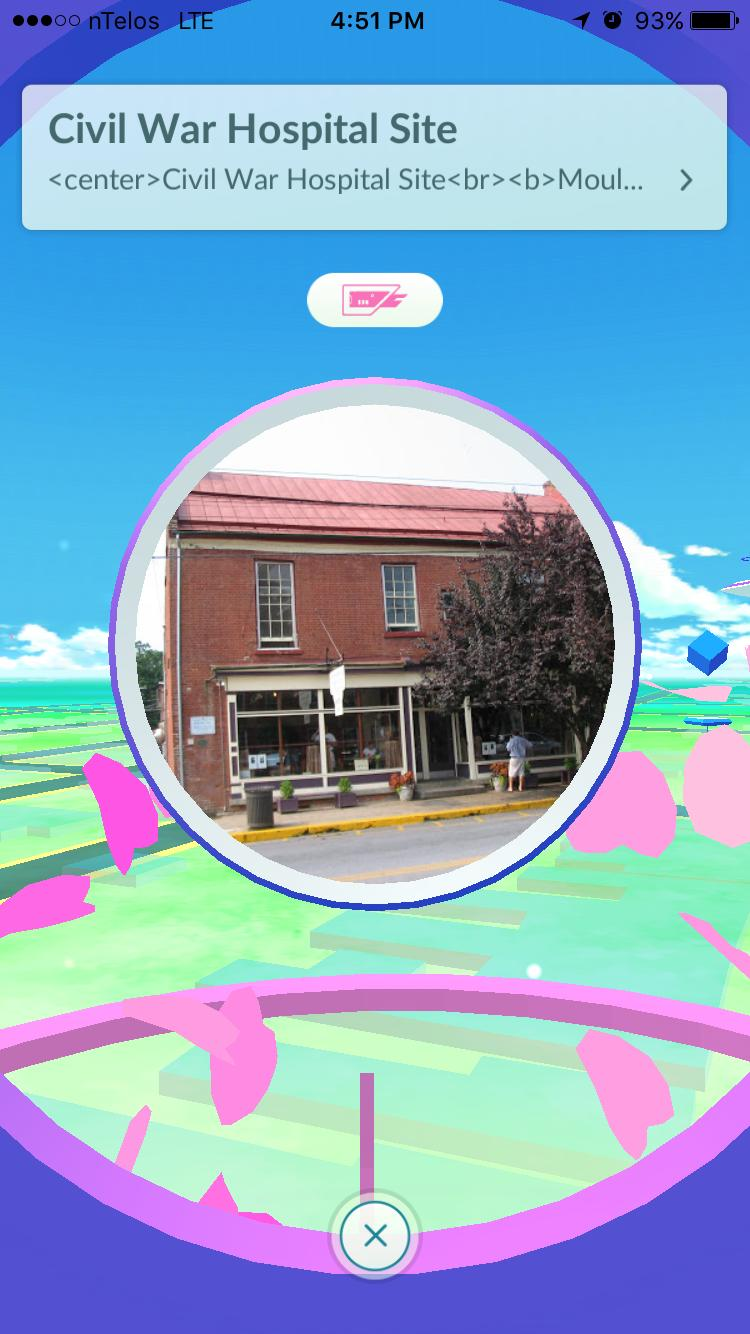 The PokéStop at the Shepherdstown Sweet Shop.