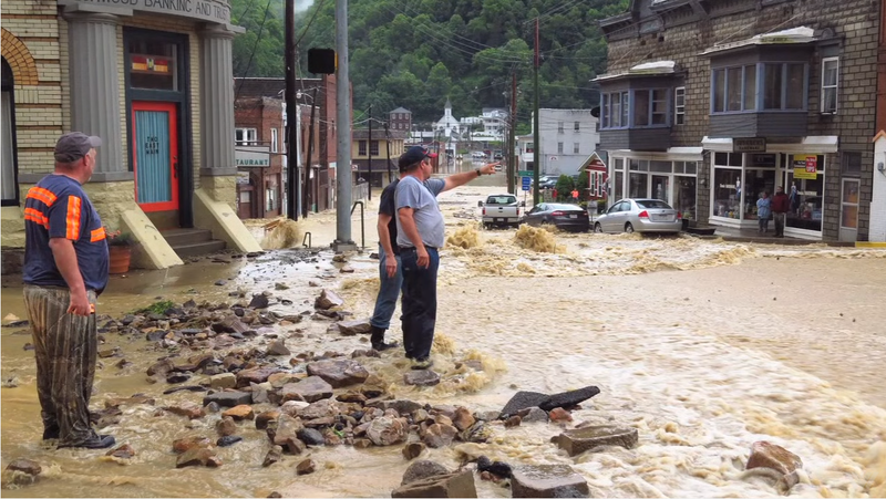 Flooding in downtown Richwood