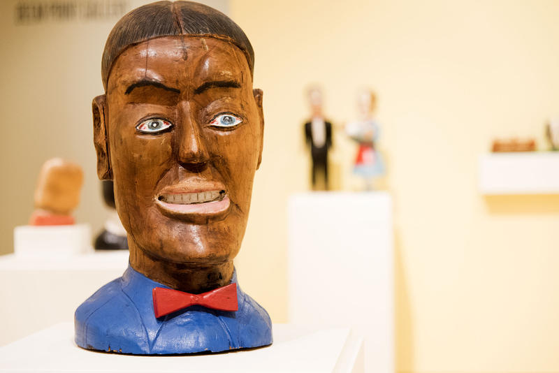 A sculpture of John Henry by S.L. Jones at the Art Museum of West Virginia University.