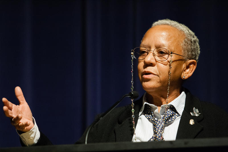 Nikki Giovanni speaking at Emory University in 2008.