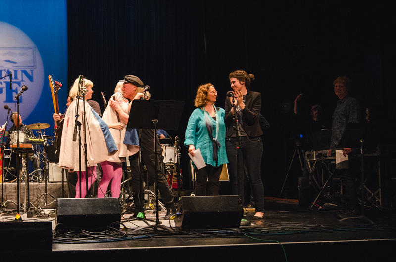 Alt-rockers Lucius on stage with Mountain Stage Band members Ron Sowell, Julie Adams and special guest host Joni Deutsch.