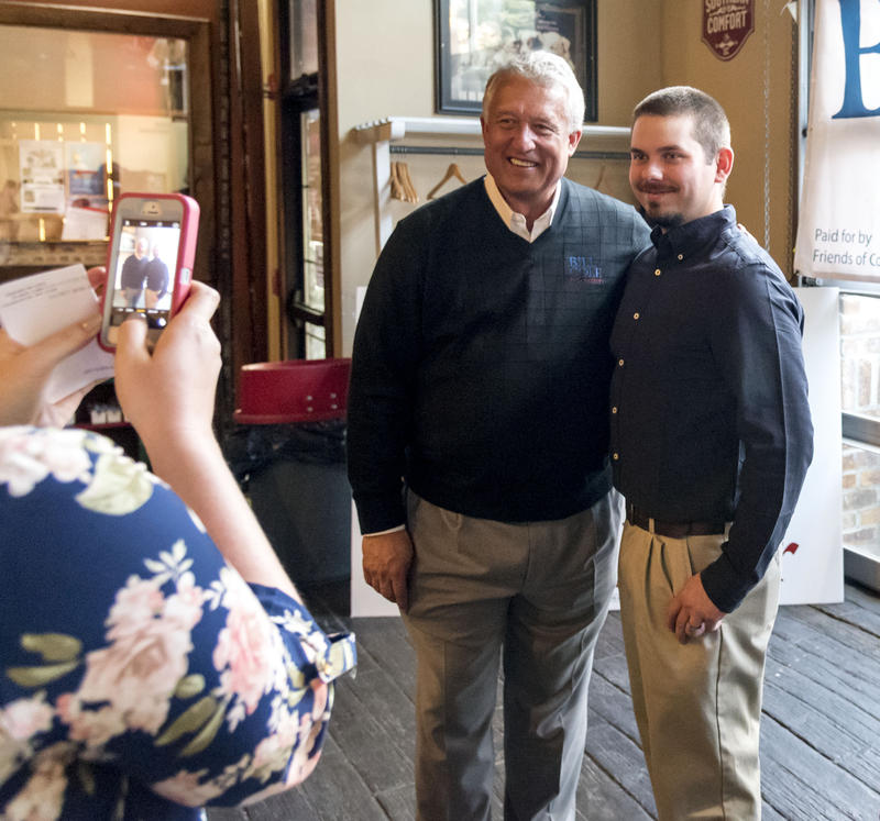 Gubernatorial candidate and Senate President Bill Cole poses with a supporter during a campaign stop Friday, Oct. 28, in Morgantown.