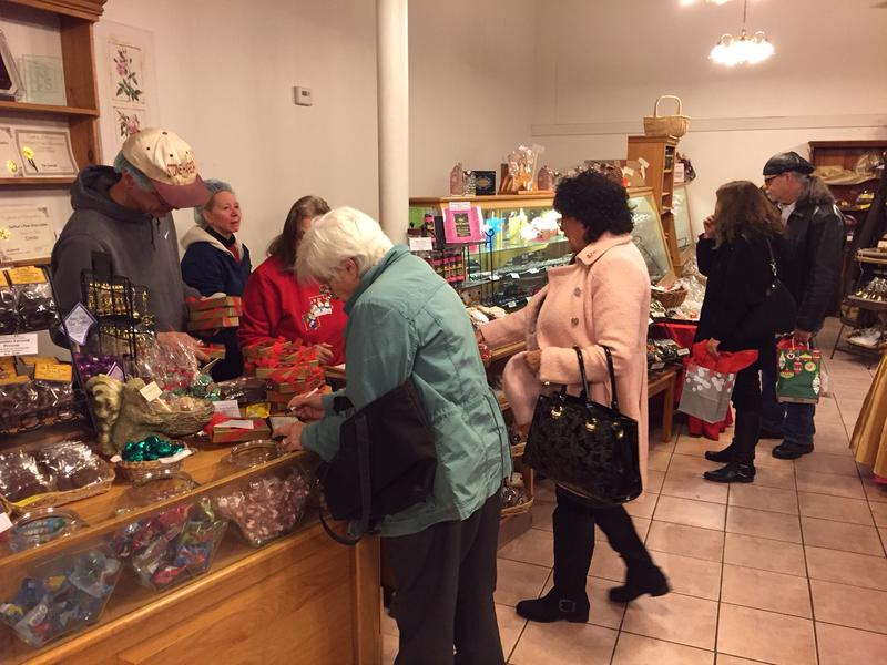 A line of people purchasing candies at DeFluri's Fine Chocolates in Martinsburg.